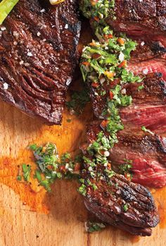Skirt Steak with Chimichurri Sauce Recipe | Epicurious.com