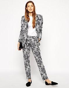 ASOS+Slim+Cigarette+Trousers+in+Mono+Tapestry+Jacquard+co-ord