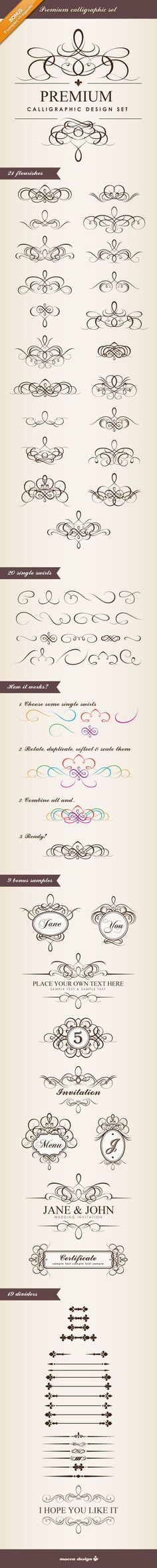 Premium Calligraphic Design Set by Mocca Design. Includes…