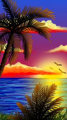 ideas for palm tree painting acrylic tropical Beautiful Nature Pictures, Beautiful Flowers Wallpapers, Beautiful Nature Wallpaper, Beautiful Paintings, Beautiful Landscapes, Seascape Paintings, Landscape Paintings, Abstract Landscape, Canvas Background