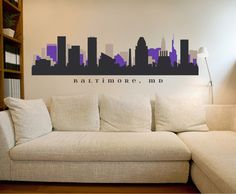BALTIMORE MARYLAND Ravens Skyline NFL Team Colors Wall Decal Art printed Vinyl Sticker Business Office Decor City by AmericanDecals on Etsy https://www.etsy.com/listing/158976490/baltimore-maryland-ravens-skyline-nfl