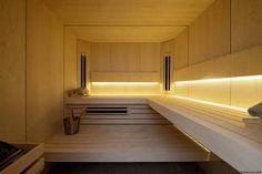 Kaamos Design Sauna (Sauna) Truck Interior, Wellness Spa, Jacuzzi, Stairs, Saunas, Tiny Houses, Kindergarten, Glow, Interiors