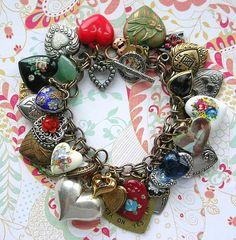 Vintage All Hearts Charm Bracelet Each Unique Lockets Sterling Puffy Floral Enamel Painted Rose Sentimental Love Vintage Heart Design