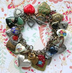 Vintage All Hearts Charm Bracelet