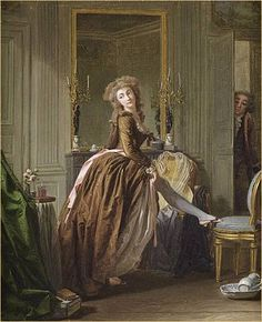 'Une jeune femme à sa toilette (Young woman at her toilette)', Michel Garnier. Sold by Sotheby's Paris, 'Old Master and century drawings and paintings', lot 18th Century Dress, 18th Century Costume, 18th Century Fashion, 19th Century, Marie Antoinette, Blue Stockings, Cosplay Anime, Old Master, Historical Costume