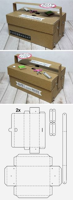 Cardboard packaging for gift tutorial and pattern / Master carton packaging for gift Cardboard Furniture, Cardboard Crafts, Paper Crafts, Diy Karton, Papier Diy, Cardboard Packaging, Sewing Box, Sewing Tools, Diy Box