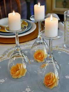 DIY Wedding Centerpieces - Upside Down Wine Glass Wedding Centerpiece - Do It Yo. [ DIY Wedding Centerpieces - Upside Down Wine Glass Wedding Centerpiece - Do It Yourself Ideas for Brides and Best Cente. Wine Glass Centerpieces, Simple Centerpieces, Centerpiece Flowers, Glass Votive, Centerpiece Wedding, Glass Candlesticks, Flower Arrangements, Graduation Centerpiece, Quinceanera Centerpieces
