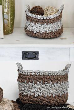 Crochet Basket Pattern || Rescued Paw Designs via @rescuedpaw