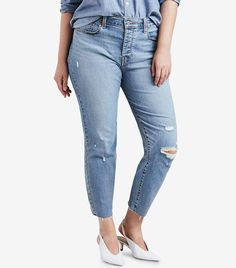 Levi's Trendy Plus Size High-Waist Ripped Skinny Wedgie Jeans - Medium Blue Ripped Skinny Jeans, Skinny Fit, Trendy Plus Size, Plus Size Women, Plus Size Dresses, Plus Size Outfits, Jean Parfait, Plus Size Shopping, Lingerie
