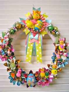 Spring Easter Wreath with Vintage Shiny and Kitschy Goodies