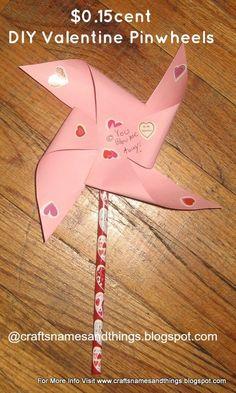 Cheap DIY Kids Valentine Gift Idea/ 15 cent Pinwheels/ $5 dollar Valenin...