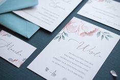 wedding invitations pink flowers, miodunka papeteria, różowe kwiaty na zaproszeniu, akwarelowe zaproszenia, rsvp, save the date Wedding Stationery, Save The Date, Pink, Wedding Invitation, Pink Hair, Roses, Wedding Invitations