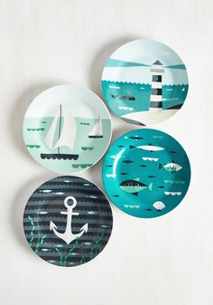 Aweigh From It All Plate Set. From beach house to city flat, this set of four porcelain side plates expertly spruces up your brunch time bash! Blue Dinnerware, Porcelain Dinnerware, Nautical Design, Nautical Home, Nautical Style, Vintage Kitchen, Retro Vintage, Kitsch, Pottery Painting Designs