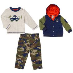 Little Me Boys 3 Piece Navy/Olive Quilted Hooded Jacket, Long Sleeve T Shirt with Camping Artwork, and Camp Pant Set