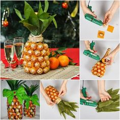 DIY pineapple gift: champagne covered with ferrero rocher this is just awesome!! My ultimate  favorite candy in the whole world!!!