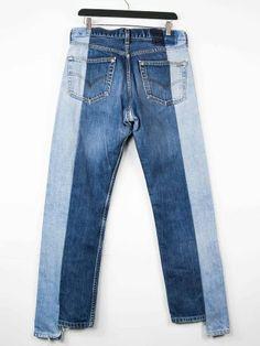 La créatrice de Je Suis Unique a rassemblé 2 jeans vintage indigo en 1 jean bi-matières. C'est la magie de l'upcycling, un recyclage créatif et de valeur !