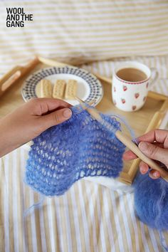 Garter stitch knitting in Cloudy Blue Take Care Mohair. This fluffy yarn is from Wool and the Gang, and is the perfect yarn for autumn and winter knits. Garter Stitch, Take Care, Cosy, Knit Crochet, Knitting, Knits, Crocheting, How To Make, Blue
