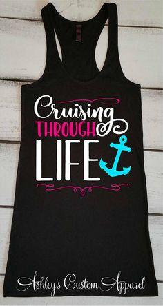 Cruise Shirts Funny Cruise Drinking Shirt Cruising Through Life Boating Tank Tops Cruise Vacation Tank Girls Trip Shirts Swimsuit Cover Up