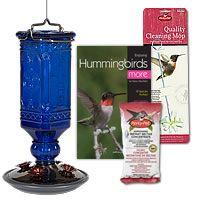 Hummingbird Feeders, Cobalt Blue Antique Glass Hummingbird Feeder Kit, BHUMKIT1