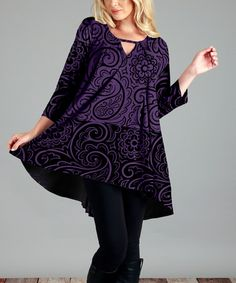 Another great find on #zulily! Purple & Black Abstract Notch-Neck Cutout Tunic - Plus #zulilyfinds