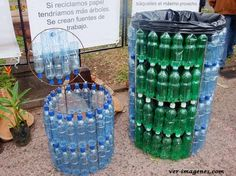 A veces nos hace falta un buen safacon para los desperdicios, pues aqui pueden ver unos realizados con botellas de agua o refresco, muy prácticos, fáciles de realizar, económicos y ecológicos.