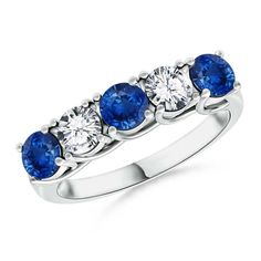 Half Eternity Five Stone Sapphire and Diamond Wedding Ring. Gorgeous five stone ring of alternating round sapphires and diamonds looks 'oh so pretty' to dainty hands.