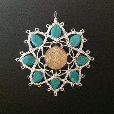 Lotus Handmade Bobbin Lace Amulet Pendant in Silver by LIBRAinLOVE