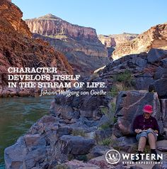 A guest takes a moment in the morning to write a little in her river journal, resting against 4 billion year old Vishnu Schist in the inner gorge of the Grand Canyon.