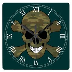 Camouflage Skull And Crossbone Roman Numeral Clock  Halloween decoration for the home.  http://www.zazzle.com/camouflage_skull_and_crossbone_roman_numeral_clock-256221882802414517?rf=238271513374472230  #halloween  #halloweendecoration