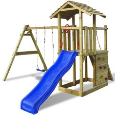 VXL Speelhuisje hout met ladder, glijbaan en schommels online kopen