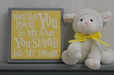 gray and yellow baby room   Gray and Yellow Baby Nursery Wall Decor, Grey Wall Sign - When they ...