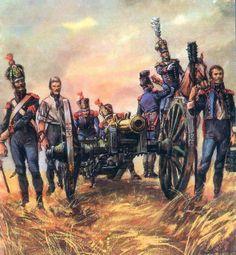 Artiglieri a piedi della guardia imperiale francese e cannone da 11 libbre