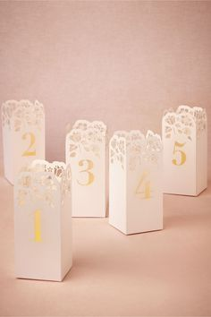 Lasercut Table Number Luminaries in Décor Table Signage at BHLDN