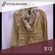 Forever 21 Jacket Forever 21 soft faux fur collar and wrist jacket,  beige, 100% cotton, size M. Forever 21 Jackets & Coats