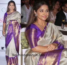 Six times that the gorgeous Vidya Balan wore Gaurang Shah's beautiful Kanjeevarams to look like the diva that she is. Vidya Balan in kanjeevarams. Kanjivaram Sarees Silk, Indian Silk Sarees, Ethnic Sarees, Kanchipuram Saree, Pure Silk Sarees, Indian Beauty Saree, South Indian Sarees, Half Saree Designs, Sari Blouse Designs