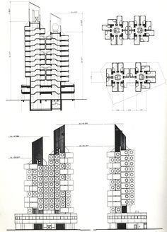 MORE ABOUT: Nakagin Capsule Tower (central bank Capsule Tower) Ginza Chuo-ku, Tokyo, Japan Construction Dates: [Design Conception] October 1969 - December 1970 [Fabrication] January 1971 - March 197 . Architecture Concept Drawings, Japanese Architecture, Architecture Plan, Classical Architecture, Metabolist, Nakagin Capsule Tower, Kisho Kurokawa, Capsule Hotel, Famous Architects