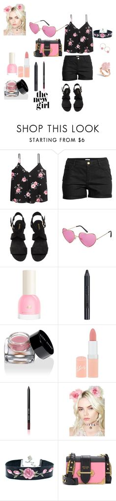 """""""Pink and Black"""" by chauert ❤ liked on Polyvore featuring H&M, Nudestix, Bobbi Brown Cosmetics, Rimmel, KritterKlips, Prada and Humble Chic"""