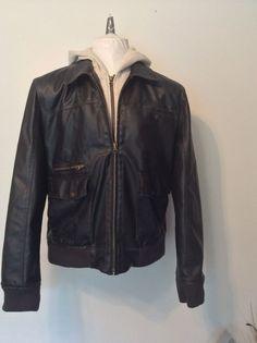 Men's American Rag Cie Brown Faux Leather Hooded Jacket X-Large #AmericanRagCie #LeatherwithHoodie