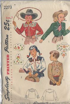 Little kids pattern for cowboy or cowgirl shirts! This dates to the late 40s and has classic western shirts with smiley pockets, pointed yokes, and sleeve detail. Looks great with embroidery or piping and western snaps.