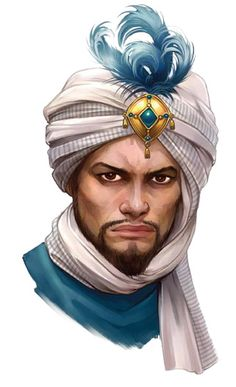Character design portrait - man with turban and beard Arabic Characters, Dnd Characters, Fantasy Characters, Fantasy Male, Fantasy Rpg, Medieval Fantasy, Character Creation, Character Concept, Character Art