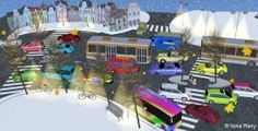 busy street filled with colorful cars and buses in winter, 3D illustration, raster illustration