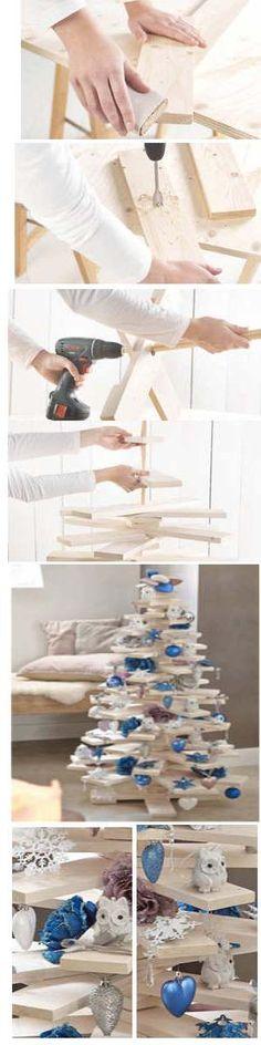 Voorbeelden hoe je zelf een kerstboom van hout kunt maken met takken uit het bos of plankjes van de sloop. Decoratieve houten kerstbomen, meerdere modellen.