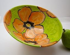 Majolica Serving Clay Pottery Bowl Orange by ClayLickCreekPottery,