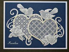 """Carte Pergamano """"Les inséparables"""" en dentelle de papier : Cartes par franlau"""