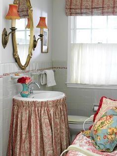 """Powder Room"" --- This oh-so-cute and functional powder room would be a perfect addition to my BHG Dream Home! I adore the matching pattern of the skirt around the sink and the Roman shades. I love the style and glamour that the gilded mirror adds to the room, and it fits right in, too."