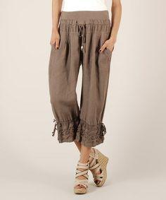 AGAVE Chambray Stretch Drawstring Linen-Blend Pants