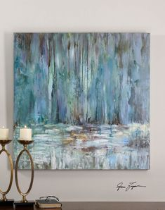 Kaufen Sie Uttermost Blue Waterfall Art - Painting n Drawing Trends Waterfall Paintings, Hand Painted Canvas, Blue Canvas Art, Original Paintings, Art Paintings, Painting Inspiration, Painting & Drawing, Modern Art, Contemporary Homes