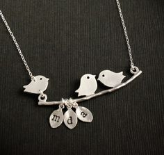 ENGRAVED Custom Mommy Necklace - Three Little Birds - STERLING SILVER - 3 Birds, Family necklace, Bird Necklace, Mothers Day Gift
