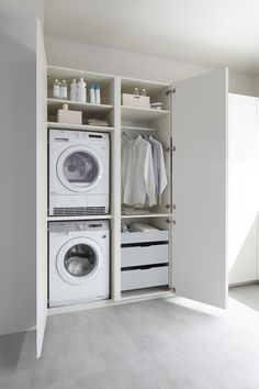 50 Beautiful and Functional Laundry Room Design Ideas Laundry room decor Small laundry room ideas Laundry room makeover Laundry room cabinets Laundry room shelves Laundry closet ideas Pedestals Stairs Shape Renters Boiler Laundry Cupboard, Utility Cupboard, Laundry Closet, Laundry Room Organization, Laundry In Bathroom, Laundry Tips, Basement Laundry, Hidden Laundry, Basement Bathroom