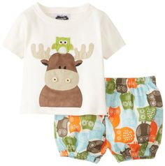 Mud Pie Baby-Boys Infant Moose Diaper Cover Set